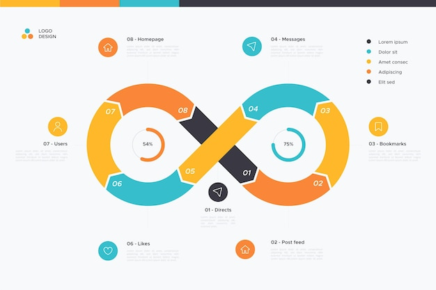 Plantilla de infografía bucle infinito