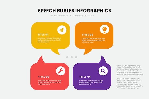 Plantilla de infografía de burbujas de discurso de diseño plano
