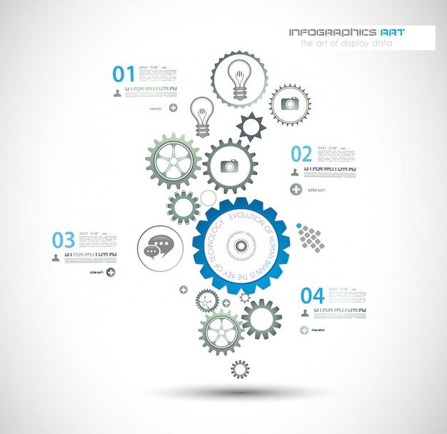 Plantilla de infografía con cadena de engranajes