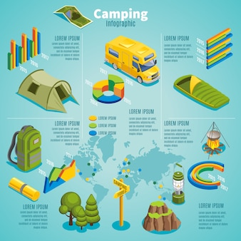 Plantilla de infografía camping isométrica de verano con mapa de tienda de autobús de viaje
