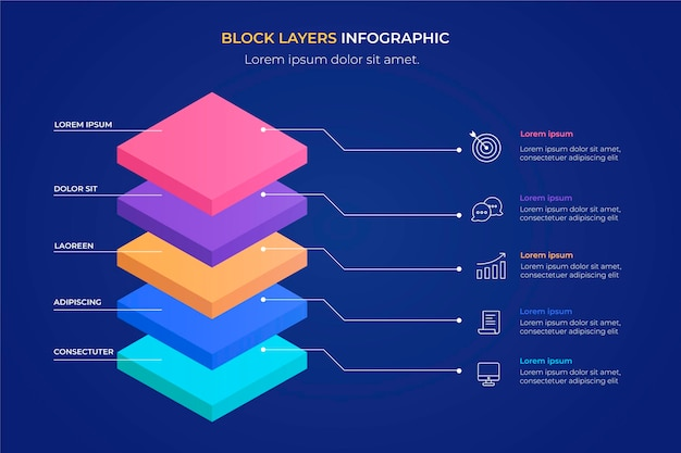 Plantilla de infografía de capas de bloque 3d