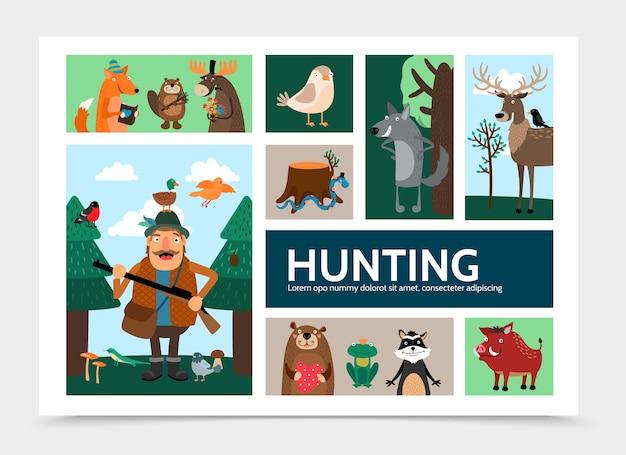 Plantilla de infografía de caza plana