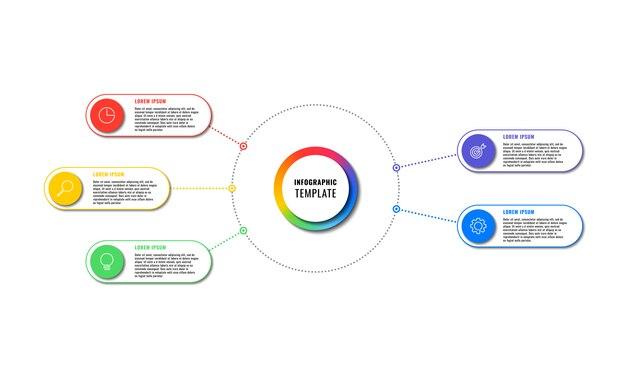 Plantilla de infografía con cinco elementos redondos sobre fondo blanco. visualización de procesos de negocios modernos con iconos de marketing de línea delgada. fácil de editar y personalizar.
