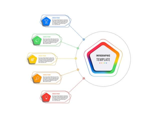 Plantilla de infografía de cinco opciones con pentágonos y elementos poligonales sobre un fondo blanco. visualización de procesos de negocios modernos con iconos de marketing de línea delgada.