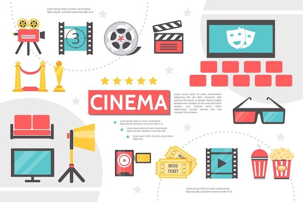 Plantilla de infografía de cinematografía plana