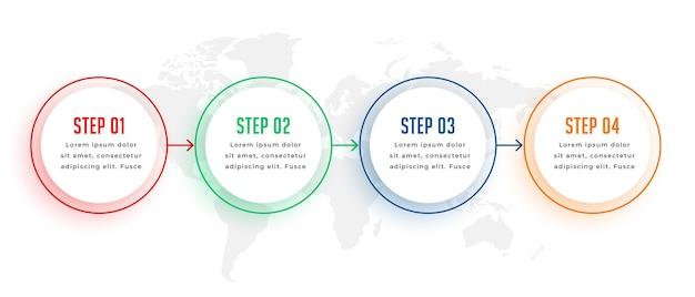Plantilla de infografía circular de cuatro pasos en colores.