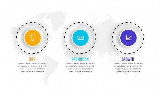 Plantilla de infografía circular de tres pasos en estilo moderno