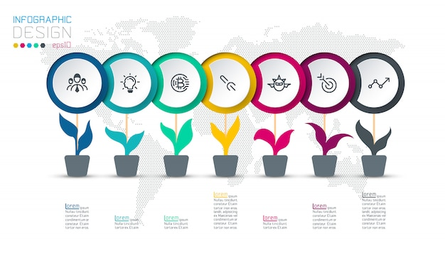 Plantilla de infografía círculo con 7 pasos.