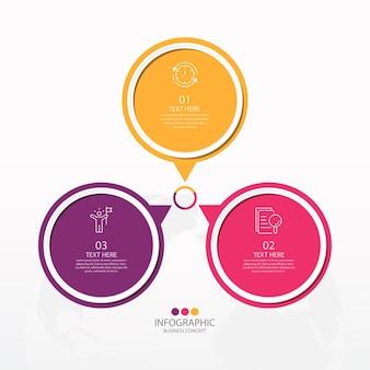 Plantilla de infografía de círculo básico con 3 pasos, proceso u opciones, diagrama de proceso, utilizado para diagrama de proceso, presentaciones, diseño de flujo de trabajo, diagrama de flujo, infografía. ilustración de vector eps10.