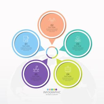 Plantilla de infografía de círculo básico con 5 pasos, proceso u opciones, diagrama de proceso, utilizado para diagrama de proceso, presentaciones, diseño de flujo de trabajo, diagrama de flujo, infografía. ilustración de vector eps10. Vector Premium