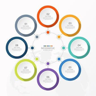 Plantilla de infografía de círculo básico con 8 pasos, proceso u opciones, gráfico de proceso