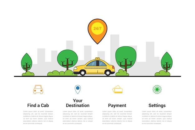 Plantilla de infografía con coche taxi y silueta de gran ciudad en el fondo, concepto de servicio de taxi,