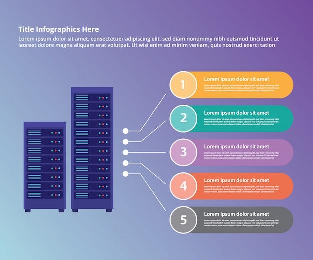 Plantilla de infografía de la colección del centro de datos del servidor