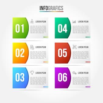 Plantilla de infografía colorfull con etiqueta de papel 3d