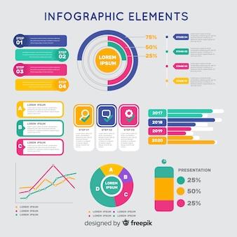 Plantilla de infografía colorida en diseño plano