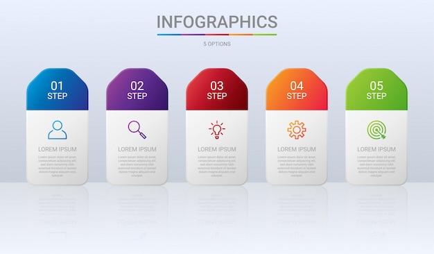 Plantilla de infografía colorida línea de tiempo con pasos sobre fondo gris