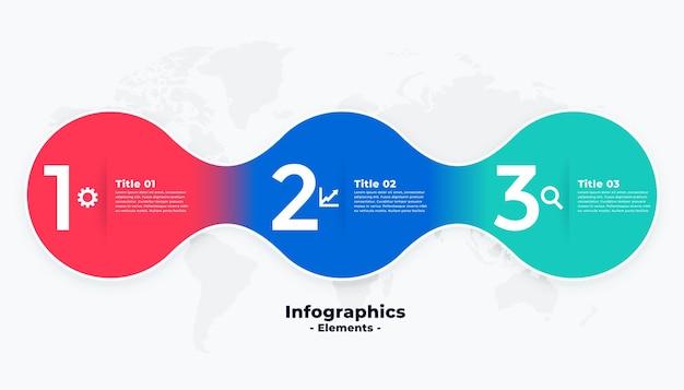 Plantilla de infografía colorida moderna de tres pasos