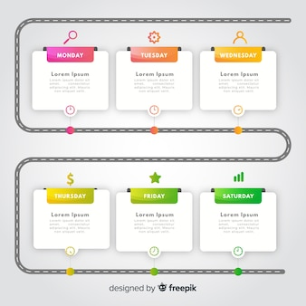 Plantilla de infografía colorido degradado línea de tiempo