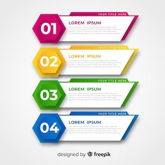 Plantilla de infografía colorido diseño plano.