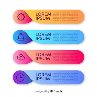 Plantilla de infografía colorido en estilo degradado