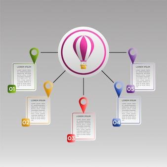 Plantilla de infografía colorido con globos de aire caliente