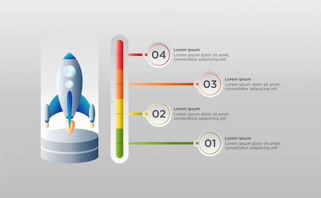 Plantilla de infografía colorido con nave espacial