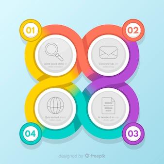 Plantilla de infografía colorido con pasos
