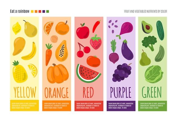 Plantilla de infografía con comer un arco iris