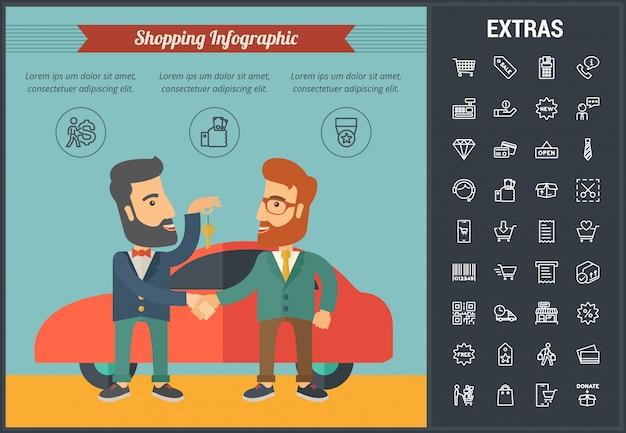 Plantilla de infografía comercial, elementos e iconos