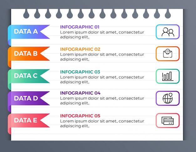 Plantilla de infografía comercial en papel con 5 datos de opciones