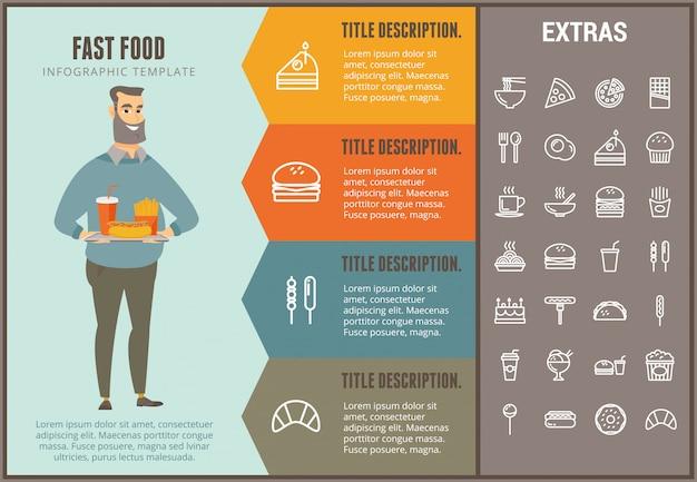 Plantilla de infografía de comida rápida y elementos