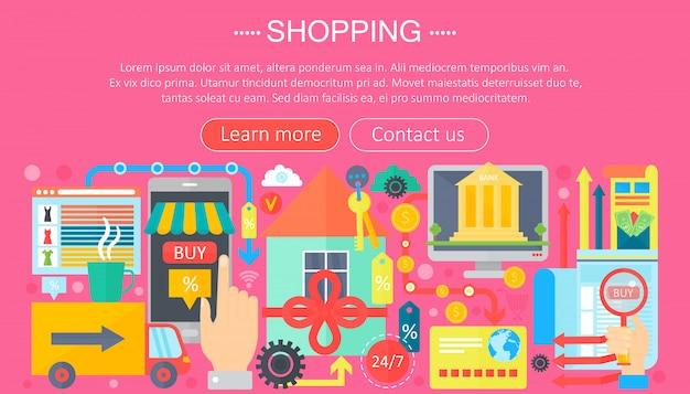 Plantilla de infografía para compras en línea y compras de comercio electrónico.