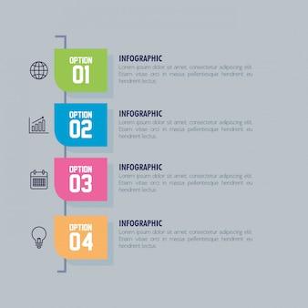 Plantilla de infografía con concepto de iconos de negocios