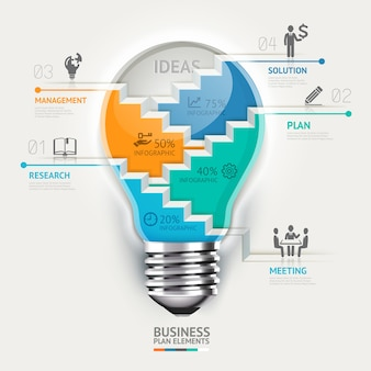 Plantilla de infografía de concepto de negocio. idea de escalera de bombilla.