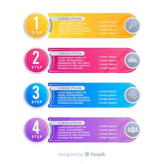 Plantilla de infografía con concepto de pasos