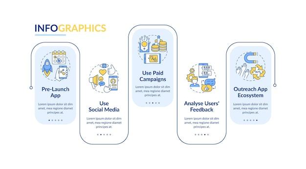 Plantilla de infografía de consejos de marketing de aplicaciones.