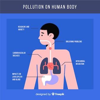 Plantilla infografía contaminación en el cuerpo humano