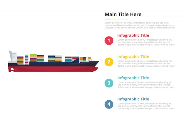 Plantilla de infografía de contenedor de barco grande con cuatro puntos.