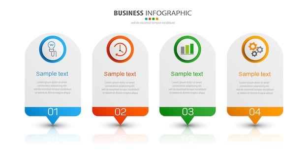 Plantilla de infografía creativa con iconos y 4 opciones.