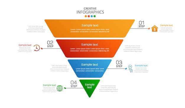 Plantilla de infografía creativa moderna con 4 pasos