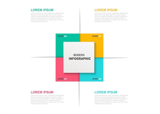 Plantilla de infografía cuadrada con iconos y 4 pasos u opciones.