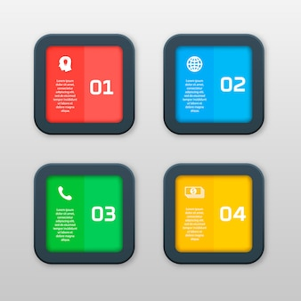 Plantilla de infografía con cuatro opciones en estilo de material. se puede usar como un cuadro, un banner numerado, una presentación, un gráfico, un informe, una web, etc.