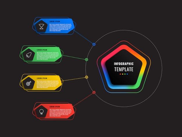 Plantilla de infografía de cuatro opciones con pentágonos y elementos poligonales sobre un fondo negro. visualización de procesos empresariales modernos con iconos de marketing de línea delgada.