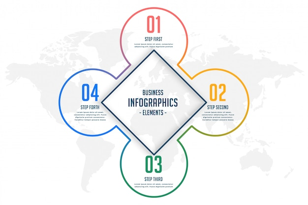 Plantilla de infografía de cuatro pasos de estilo