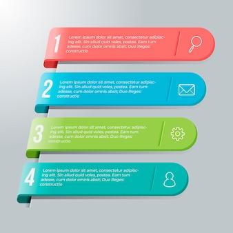 Plantilla de infografía en cuatro pasos.