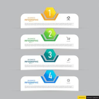 Plantilla de infografía con cuatro pasos