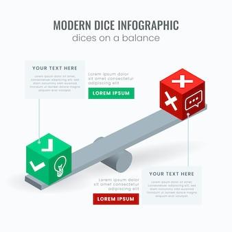 Plantilla de infografía dados modernos