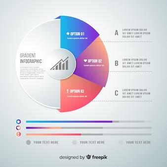 Plantilla infografía degradada diseño plano