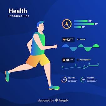 Plantilla  infografía deporte diseño plano