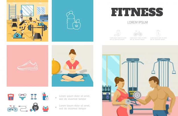 Plantilla de infografía de deporte plano con gimnasio hombre y mujer levantando pesas chica meditando en yoga pose ropa deportiva básculas de bicicleta